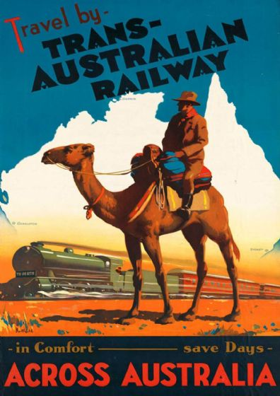 Travel by Trans-Australian Railway Across Australia. Vintage Travel Print/Poster. Sizes: A4/A3/A2/A1 (003440)